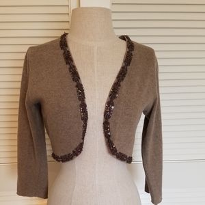 Brown heather shrug with subtle beading Med